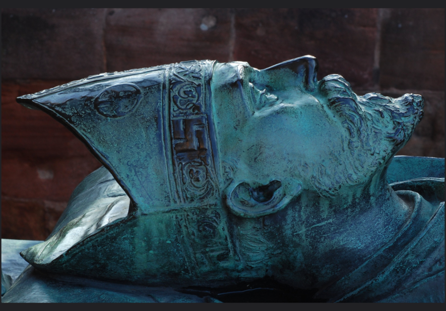 Gammadion on the Mitre of Bishop Huyshe Wolcott Yeatman-Biggs, d. 1922, on his tomb at the Coventry Cathedral.