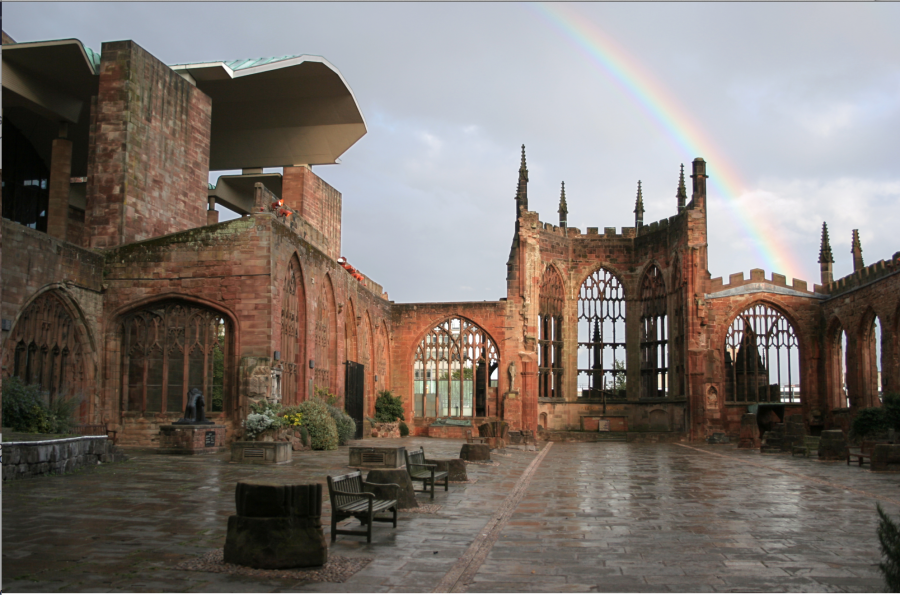The roofless ruins of St. Michael Cathedral (1095), Coventry, West Midlands, England.