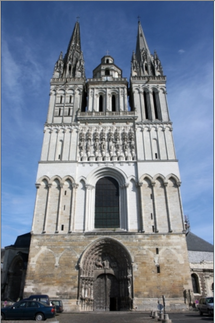 the Angers cathedral, also called the Cathédrale Saint-Maurice d'Angers, in the Loire country of western France, 12th century.