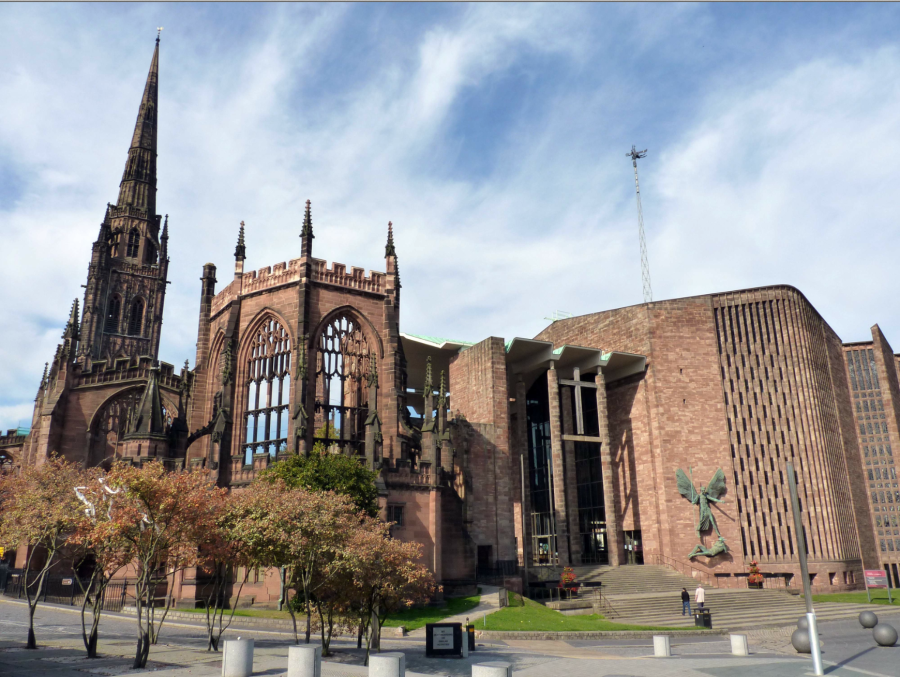 Coventry Cathedral, also known as St Michael's Cathedral, is the seat of the Bishop of Coventry and the Diocese of Coventry, in Coventry, West Midlands, England (1095-late 14th century, with additional building erected in 1950s).