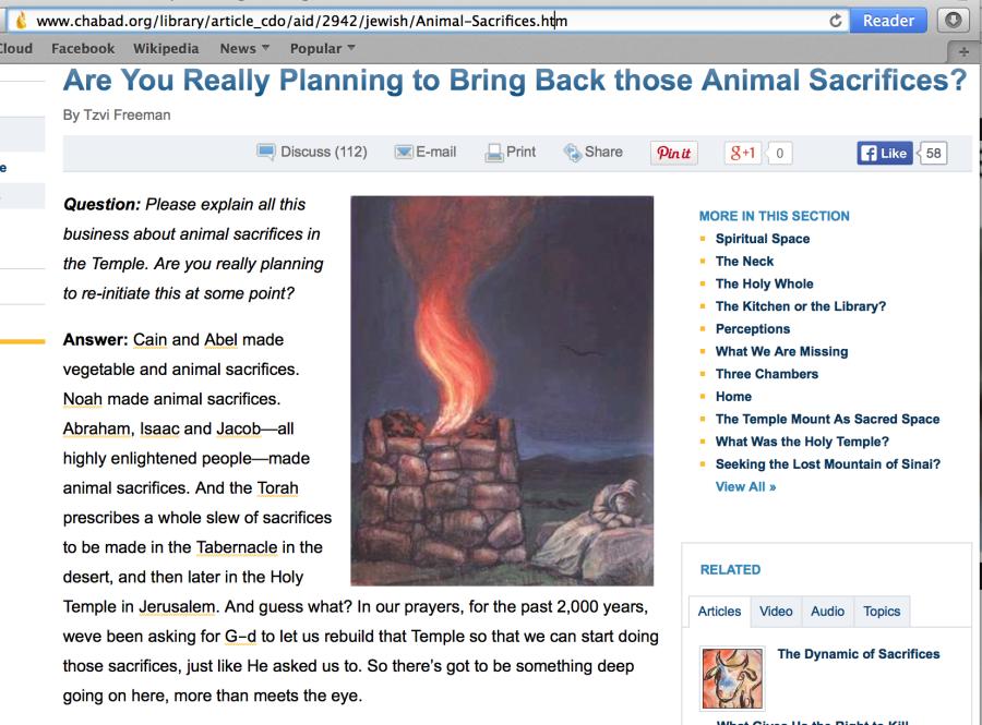 Данная статья на официальном сайте Хабада специально предназначена для того, чтобы развеять сомнения о том, собираются ли Сионисты действительно восстановить открытые жертвоприношения животных в Третьем Храме.