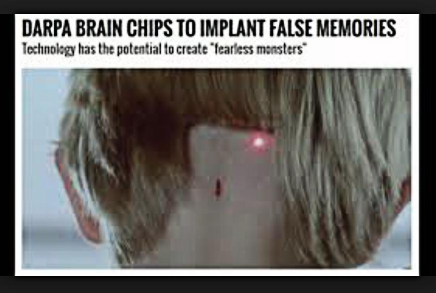 На картинке говорится: Чипы агентства ДАРПА будут имплантировать фальшивую память.