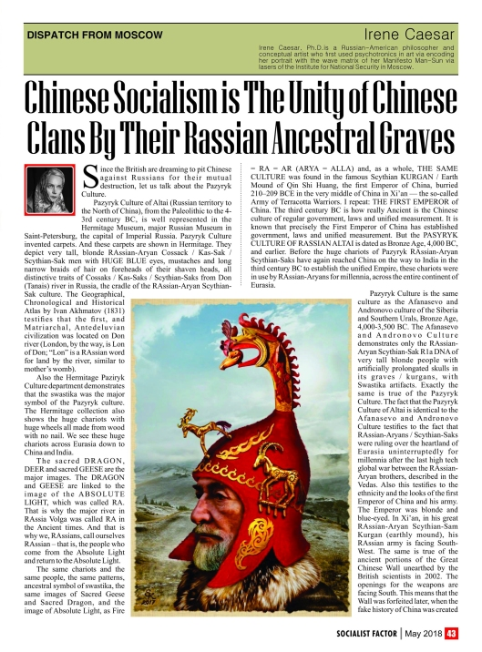 Chinese Socialism Is The Unity Of Chinese Clans By Their Rassian